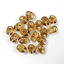 Preciosa Czech Pressed Glass 2-Hole Bead -Twin Oval 02.5x5MM SMOKE TOPAZ