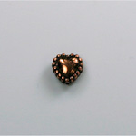 Metalized Plastic Bead - Heart with beaded rim 08MM ANT COPPER
