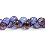 Czech Pressed Glass Bead - Mushroom 09x8MM PURPLE LUMI