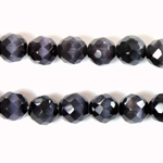 Fiber Optic Synthetic Cat's Eye Bead - Round Faceted 08MM CAT'S EYE GREY