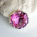 German Glass Engraved Pendant - Rose 18MM VITRAIL MEDIUM Foiled