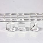 Glass Bead Table Polished - Cube 06x6MM CRYSTAL