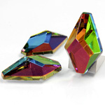 Glass Flat Back Foiled Faceted Stone - Hexagon 30x18MM IRIDIS