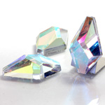 Glass Flat Back Foiled Faceted Stone - Hexagon 30x18MM CRYSTAL AB