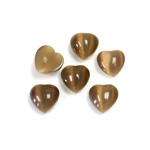 Fiber-Optic Cabochon - Heart 08MM CAT'S EYE BROWN