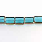 Glass Fire Polished Table Cut Window Bead - Cushion 12x10MM AQUA with METALLIC COATING
