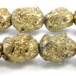 Glass Lampwork Bead - Baroque Nugget Textured 18x14MM MOLTEN GOLD COATED