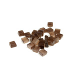 Fiber-Optic Flat Back Buff Top Straight Side Stone - Square 04x4MM CAT'S EYE BROWN