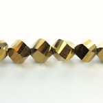 Indian Cut Crystal Bead - Helix Twisted 10MM METALLIC GOLD