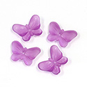 German Plastic Butterfly with Center Hole - 16x12MM MATTE DK AMETHYST