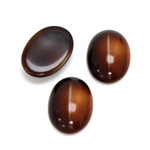 Glass Medium Dome Cabochon - Oval 18x13MM CAT'S EYE BROWNHORN