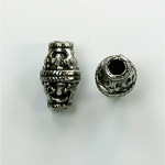 Metalized Plastic Engraved Bead - Fancy 16x10MM ANT SILVER