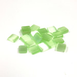 Fiber-Optic Flat Back Buff Top Straight Side Stone - Square 06x6MM CAT'S EYE LT GREEN