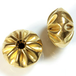 Brass Corrugated Bead - Fancy Melon Mushroom 20MM RAW