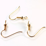 Brass Earwire - Fish Hook with Bead and Coil Turned Loop Gold Plated