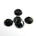 Gemstone Flat Back Stone with Faceted Top and Table - Round 10MM BLACK ONYX