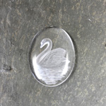 German Glass Flat Back Reverse Carved Intaglio Back Swan Oval 30x22MM MATTE CRYSTAL on CRYSTAL