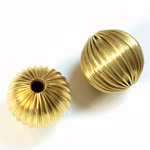 Brass Corrugated Bead - Round 16MM RAW