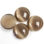 Fiber-Optic Cabochon - Round 15MM CAT'S EYE BROWN