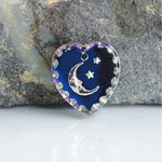 German Glass Engraved Buff Top Intaglio Pendant - MOON & STARS Heart 15x14MM HELIO BLUE SILVER