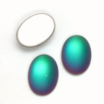 Glass Medium Dome Foiled Cabochon - Coated Oval 18x13MM MATTE HELIO GREEN