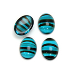 Glass Medium Dome Cabochon - Oval 14x10MM BLUE TORTOISE