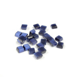 Fiber-Optic Flat Back Buff Top Straight Side Stone - Square 04x4MM CAT'S EYE BLUE