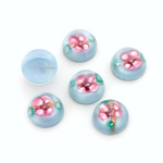 Glass Medium Dome Lampwork Cabochon - Round 10MM PINK ON AQUA (04866)
