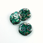 Czech Pressed Glass Bead - Smooth Flat Coin 19MM PEACOCK EMERALD