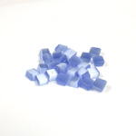 Fiber-Optic Flat Back Buff Top Straight Side Stone - Square 04x4MM CAT'S EYE LT BLUE