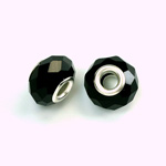 Glass Faceted Bead with Large Hole Silver Plated Center - Round 14x9MM JET