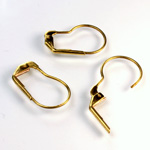 Brass Earwire 19MM Leverback Kidney Shaped with no Loop