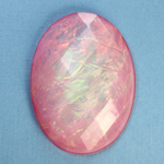 Plastic Flat Back Faceted Cabochons - Rauten Rose - Stone - Oval 40x30MM OPAL ROSE DYED