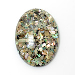Plastic Flat Back Cabochon - Inlay Shell Oval 40x30MM ABALONE