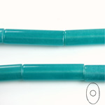 Gemstone Bead - Oval Cylinder 30x8MM Dyed QUARTZ Col. 21 TEAL