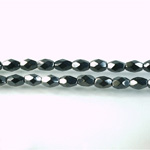 Czech Glass Fire Polish Bead - Oval 06x4MM HEMATITE