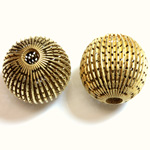 Brass Corrugated Bead - Fancy Pierced Round 25MM RAW