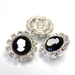 Czech Rhinestone Button - Round 20MM CRYSTAL-SILVER