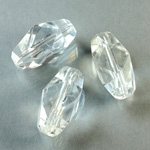Plastic Bead -  Faceted Fancy Stone -22x10MM CRYSTAL