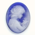 Synthetic Cameo Woman Oval 40x30MM 2-TONE CatsEYE BLUE