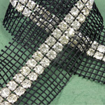 Rhinestone Banding with MC Chaton 2 Row with Net Two Edge - Round 19SS CRYSTAL-BLACK-SILVER