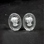 German Glass Flat Back Reverse Carved Intaglio Back Woman's Head - Oval 18x13MM MATTE CRYSTAL on CRYSTAL