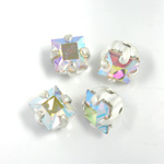 Crystal Stone in Metal Sew-On Setting - Square 04x4MM CRYSTAL AB-SILVER
