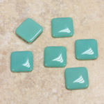 Glass Low Dome Cabochon Opaque - Square Antique 10x10MM TURQUOISE