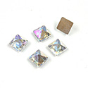 Glass Flat Back Faceted Pyramid Top Square - 06x6MM CRYSTAL AB Foiled