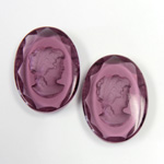 German Glass Flat Back Reverse Carved Intaglio Back Woman's Head - Oval 25x18MM AMETHYST