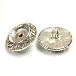 Czech Rhinestone Button - Round 21MM CRYSTAL-SILVER
