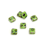 Czech Pressed Glass Bead - Smooth Flat Square 06x6MM PEACOCK GREEN