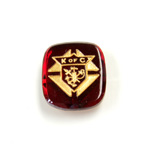 Glass Flat Back Intaglio Knights of ColumbuS Cushion Antique 16x14MM GOLD ON RUBY Foiled