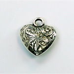 Metalized Plastic Pendant- Engraved Heart 18MM ANT SILVER